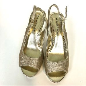 Rampage open toe glitter pumps